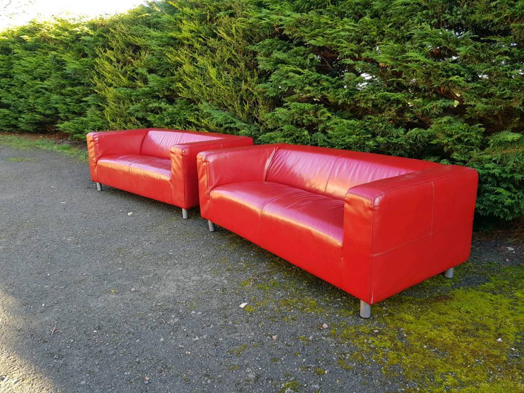 2 Red Leather Sofas. Delivery Available. Pub Club Cafe