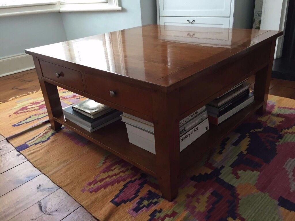 Made In Italy Square Coffee Table Solid Cherry Wood 90 X Cm