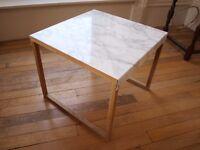 Habitat designer side table, oak, steel and marble, bedside, occasional, coffee, modern, minimalist