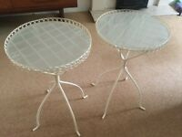 Cream metal and frosted glass side tables