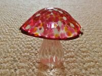 Handmade Pink White Yellow Glass Mushroom / Toadstool Shaped Ornament / Paperweight / Gift Idea
