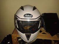 Flip front crash helmet with drop down sun shades