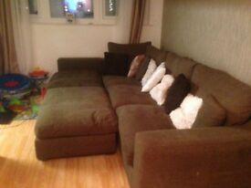 Extra large corner sofa, puffy and cushions