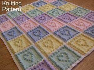 KNITTING PATTERN for Baby Blanket - Heart Squares Bobble - Plain & Intarsia