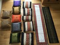 12 cushions in 3 different sets and 2 bed runners