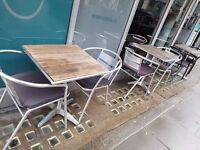Outdoor table and chairs: 700mm high x590mm wide x590mm long