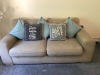 Biscuit coloured dfs sofa 3 seater and chair