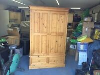 Pine Wardrobe - Good quality two door, two drawer.