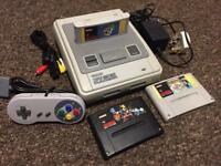 Snes with 3 games mario