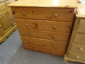 Pine chest of 5 drawers