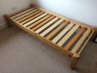 Single pine bed with matress