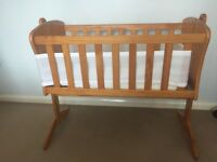 Rocking baby crib and Airwrap mesh cot bumper