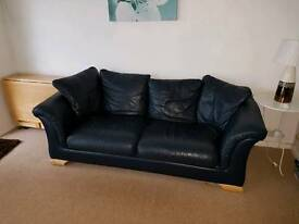 Blue leather 3 and 2 seater