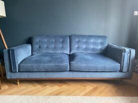 John Lewis swoon 3 seater velvet sofa