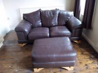 Large 2seater leather sofa and large foot stool. Good condition.