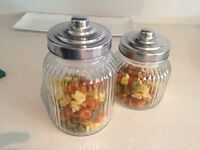 2 Ridged Glass Pasta Pots with Silver Coloured Lids