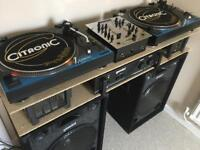 D.J. Equipment Turntables/Decks/Record Player, Mixer, Amp and Speakers.