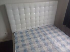 Faux white double bed with matress