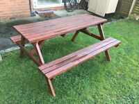 Garden table with bench- inmaculate condition