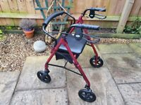 As New Mobility Walking Aid (Rollator) Height Adjustable - Lightweight Disabled Zimmer Frame Walker