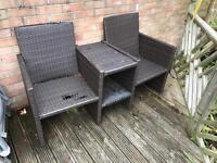 Two garden seats joined by table wicker effect