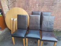 Dining table and leather chairs, dining set, FREE DELIVERY