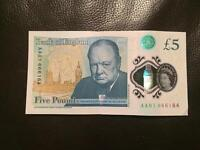 ULTRA RARE £5 BANKNOTE FROM THE FIRST AA01 BATCH WITH DEVIL NUMBER