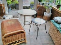 Three pieces of furniture, table, chair and footstool