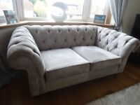 Next Gosford chesterfield sofa/settee/couch in silver velour. Only 6 months old. Cost £1150