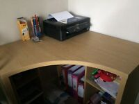 Next Desk & Ikea swivel chair. Hardly used. Corner unit with 2 shelved units for underneath.