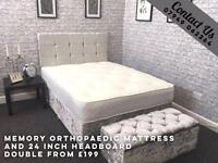 Crushed velvet Bed with memory orthopaedic mattress and free 24 inch headboard
