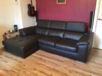 Leather Corner Sofa (Hygena Valencia) dark brown