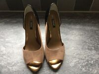 Tan, gold & black high heeled Next shoes, size 5