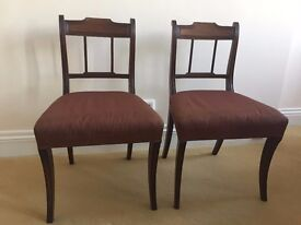 Pair of Antique very elegant Regency Mahogany Dining chairs, upholstered