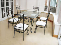 CHIC – FRENCH STYLE – ORNATE DINING TABLE & 6 CHAIRS (DELIVERY AVAILABLE)