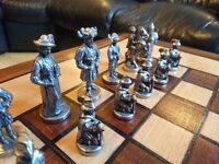 Quality Antique Metal Chess Set with Wooden Chess Board Table