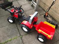 Kiddies pedal tractor with front loader & trailer