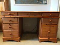 Solid Rustic 8 Drawer Pine Desk / Bureau