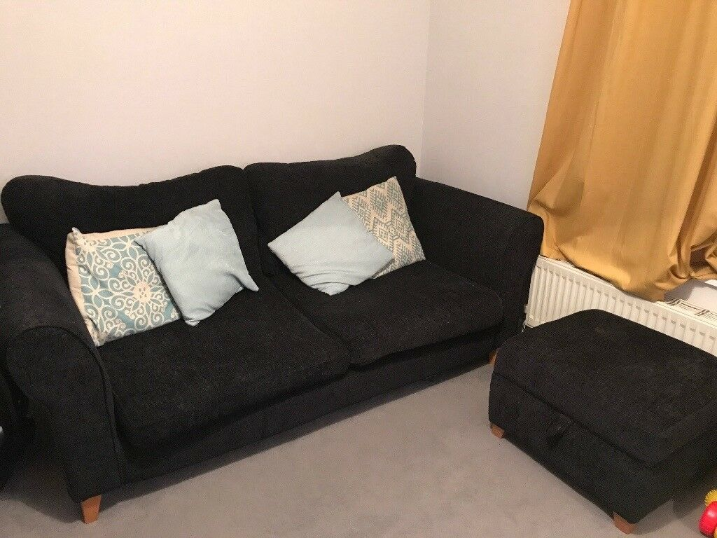 Fabric 3 seater sofa for sale with storage foot stall