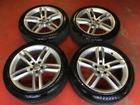 19'' GENUINE AUDI A7 S LINE ALLOY WHEELS TYRES ALLOYS A5 A6 5 DOUBLE SPOKE