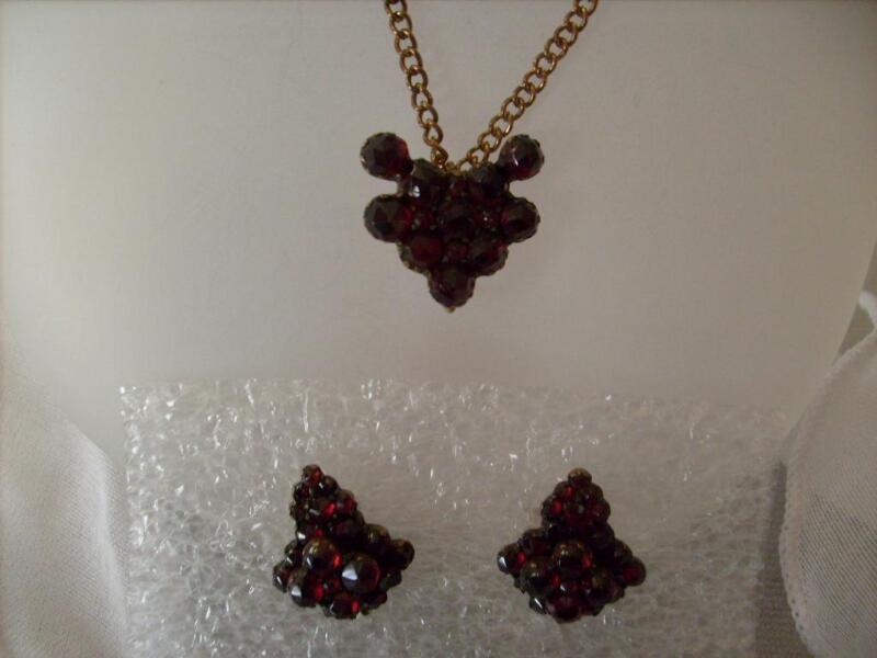 Antique Vintage Very Old  Genuine Bohemian Garnet Earrings & Pendant Set