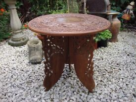 Ornately Carved Teak, Hall Table/Lamp Table/Plant Table.