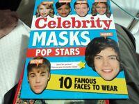 Celebrity Masks - pop stars. 10 Famous faces to wear. Fancy dress. Book.