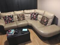 High quality leather 2 & 5 (corner) seat sofa set (smoke free home)