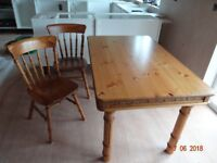Dining Table and Four Chairs in Dark Pine