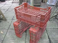 VENTILATED STACKING CRATES. IDEAL FOOD/PLANTS/MISC. VERSATILE. 43L. QTY 50 IN TOTAL APPROX.DELIVERY