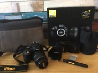 Nikon D3300 DSLR with double zoom kit and accessories