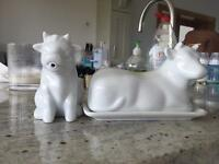 Milk jug and butter dish white cow