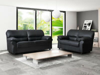 BRAND NEW CANDY 3+2 SEATER LEATHER SOFA- BLACK OR BRAWN