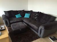 Corner sofa with foot stool storage